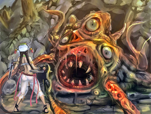 Hot cartoon fantasy babes getting attacked by huge terrifying monsters