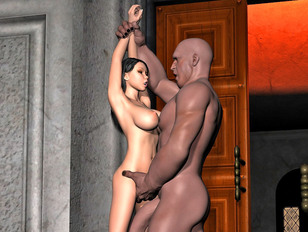 Tempting busty 3D hottie getting impaled on a gigantic black dick
