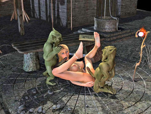 3D foxy mage with round tits having a threesome with goblins