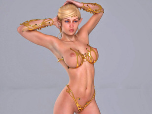 3D elf princess showing off her stunningly beautiful magical naked body