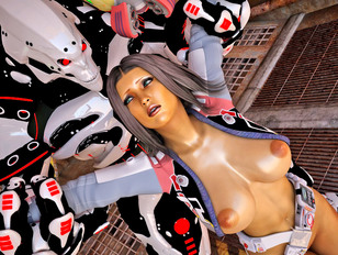 Caught busty sexy 3D babe getting raped by an evil robot