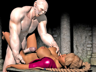 Busty horny 3D pornstar getting fucked hard by a white demon