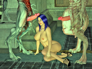 Blue haired mature slut is having fun with many creatures