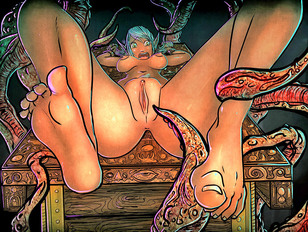 Wicked monster porn showing a lovely cute babe fucked by a slimy alien.