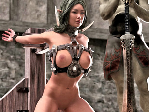 3d evil archive full of bad monsters and innocent gals