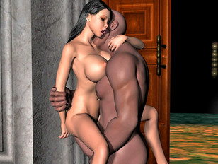 Sex starved 3D busty girl getting banged by horny black guy