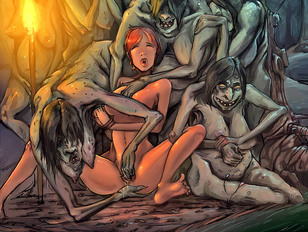 Busty cartoon babes getting violated by tentacle monsters and vile goblins