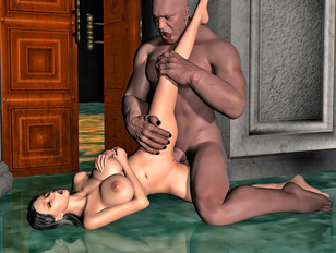 Super foxy 3D girls getting wildly fucked by a black guy