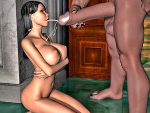 Nude 3D babe with wonderful body getting a cumshot - xxx gallery
