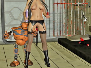 Horny 3D elf getting fucked with a dildo by her robot