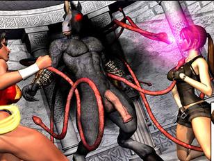 Evil horse headed tentacled monster fucking two heroines hard - hardcore gallery