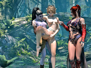 Incredibly sexy 3D lesbian elves having xxx action in the jungle
