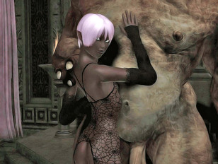 Hot elf babes having fun with their big ugly monster lovers