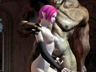 Hot 3D pink haired elf chick having a threesome with trolls