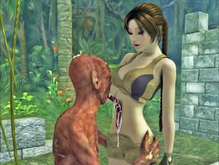 Poor enslaved redhead slut gets covered in cum by her vampire master.