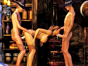 Tempting sexy 3D elf babe getting pleasured by two male witches