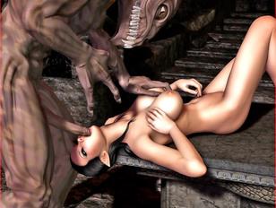 Petite elven hotties suck on a huge troll cock making it spurt cum.