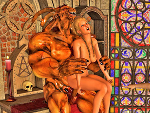 Hot busty fantasy babes getting fucked hard by demons from hell