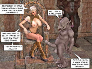 Blonde elf all naked holding her head and showing off her perfect skin