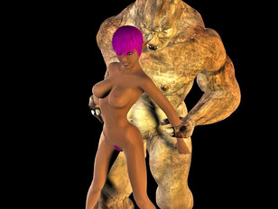elf with purple hair in a 3d monster cock anal adventure