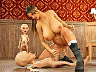 Lustful busty 3D prisoner girl getting fucked by aggressive little gnomes