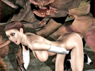 Insanely hot busty brunette girl getting double penetrated by huge monsters