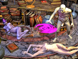 Vile demon warlock hunting down and raping 3D nude mage babe