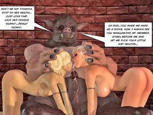 Foxy blonde chicks sucking on disgusting pig headed monster's gigantic schlong