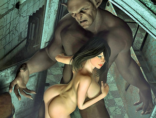 Scary horny monsters want to have sex with foxy busty babes
