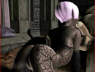 Hot black night elf chick licking, sucking and riding monster schlong