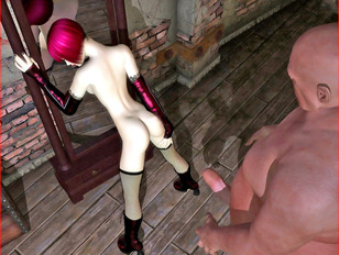 Charming young tattooed 3D girl sucking a monstrous guy's big cock