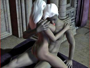 Night elf couple having sex while 3D elf girl getting fingered