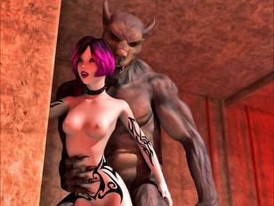 3D vixen getting drilled by a werewolf in front of boyfriend