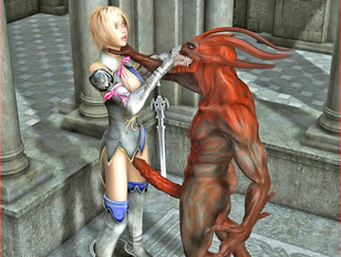 Caught sexy 3D warrior girl getting abused by an evil demon