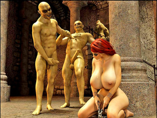 Chained busty slave woman getting her punishment by wicked horny monsters