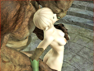 horny blonde elf is impregnated during her demon fuck