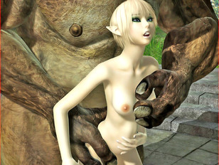 Ultra sexy 3D elf chick's pussy getting destroyed by enormous cock