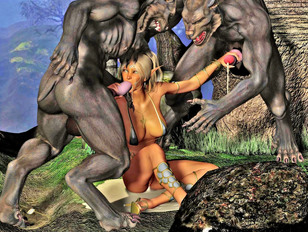 Ugly scaly demons enjoy fucking cute 3d babes in their tight little pussies.