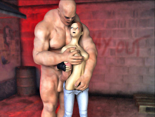 Foxy redhead teen girl brutally violated by a horny muscular monster