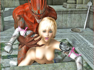Cute 3D warrior girl getting brutally fucked by an evil demon