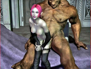 Pink haired 3D elf chick craving for a hard troll cock