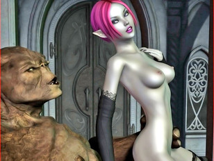 Horny 3D elf girl sucking and riding a troll's big dick