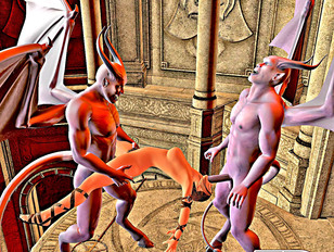 Awesome fantasy porn showing a lovely elf banged hard by a fierce demon.