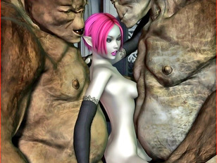 Pink haired horny elf chick fornicating with huge troll - xxx gallery