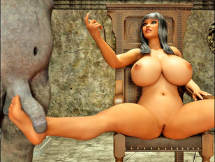 Extra busty 3D babe sucking two ogre's hard dicks - xxx gallery
