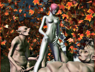 3D night elf girl getting double penetrated by two horny ogres