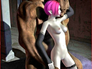 evil 3d sex where busty bitch takes on two monsters