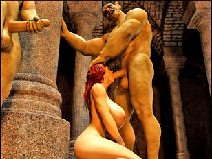 Busty redhead slave chick giving deep throat to a wicked monster