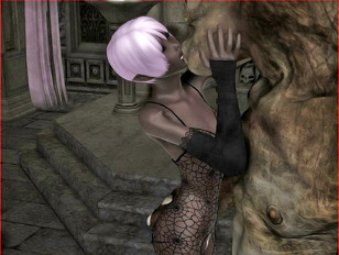 sex cartoons of dark elf laying down playing with her pussy