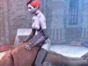 Red alien enjoys banging anally a big-breatsed blonde